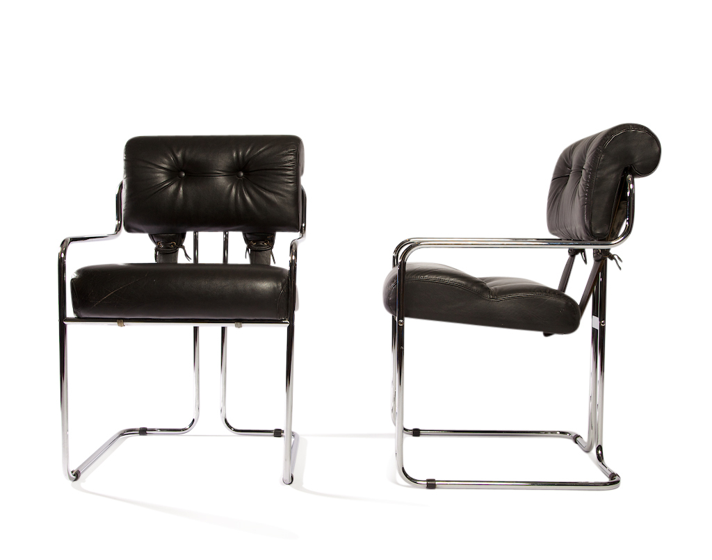 set of pace faleschini leather chrome chairs tucroma fritz hollander. Black Bedroom Furniture Sets. Home Design Ideas