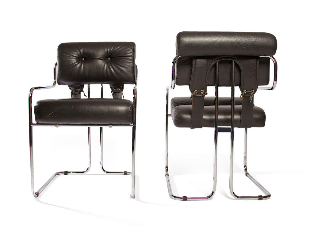 set of pace faleschini leather chrome chairs tucroma