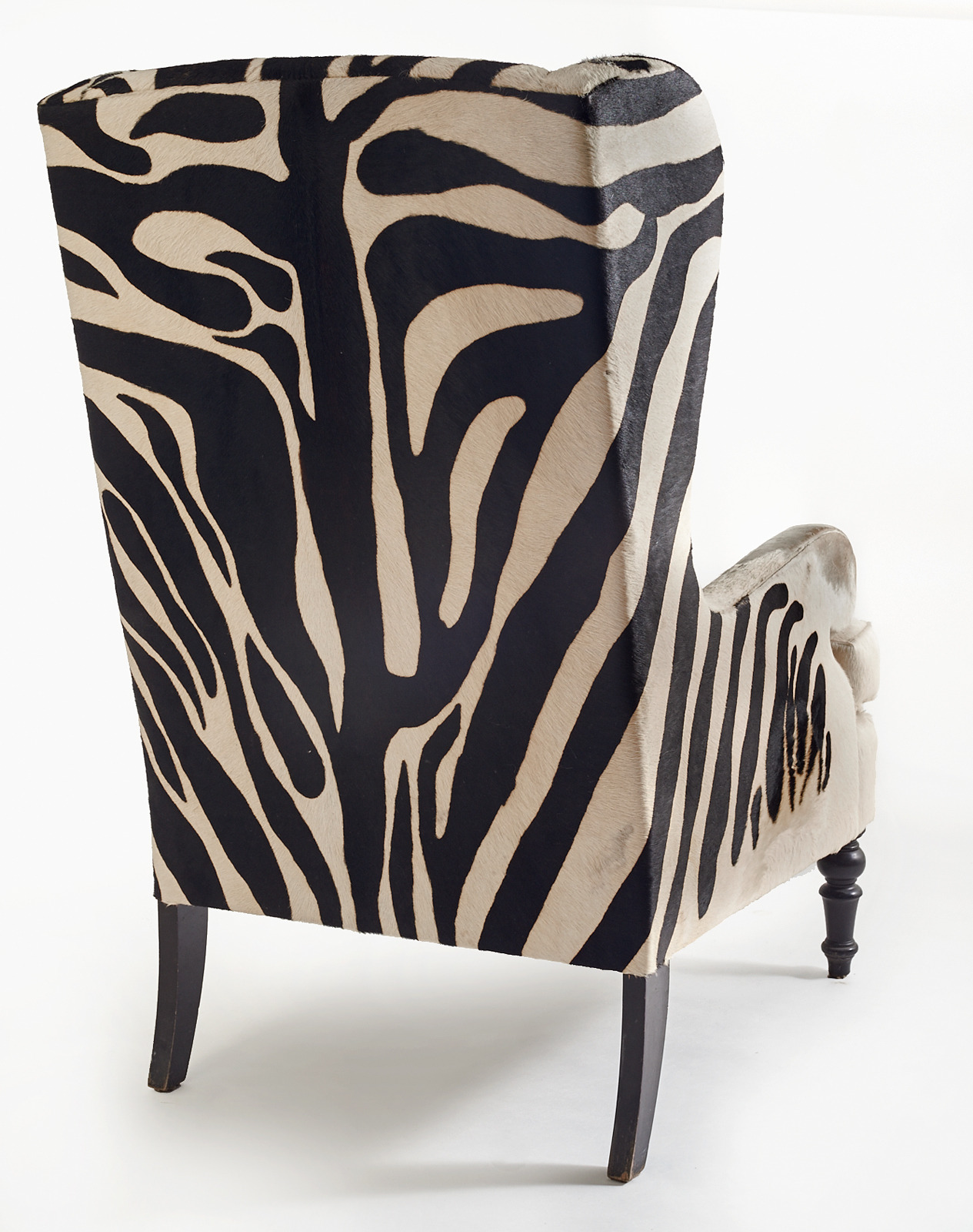20th Century Faux Zebra Wingback Chairs